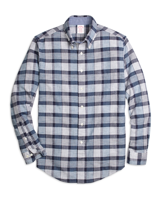Madison Fit Heathered Plaid Sport Shirt Navy-Blue