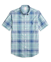 Non-Iron Madison Fit Plaid Short-Sleeve Sport Shirt