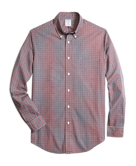 Regent Fit Heathered Gingham Sport Shirt Navy-Red