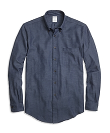 BrooksFlannel® Regent Fit Herringbone Sport Shirt