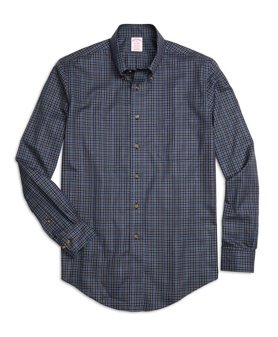 Non-Iron Madison Fit Micro Plaid Sport Shirt Navy