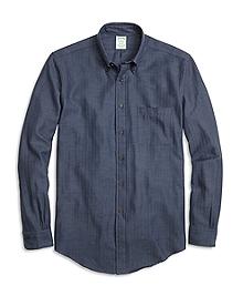 BrooksFlannel® Milano Fit Herringbone Sport Shirt