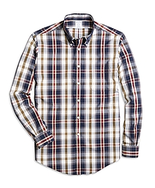 Non-Iron Regent Fit Large Plaid Sport Shirt