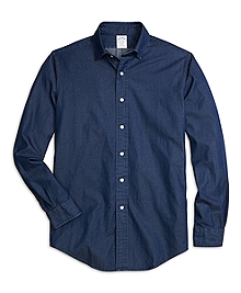Regent Fit Spread Collar Denim Sport Shirt