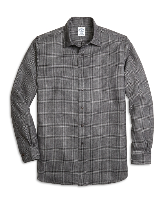 Regent Fit Saxxon Wool Glen Plaid Sport Shirt Charcoal