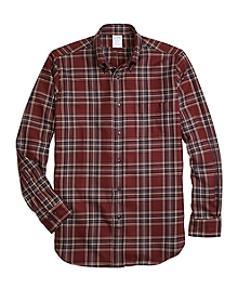 Regent Fit Saxxon Wool Plaid Sport Shirt