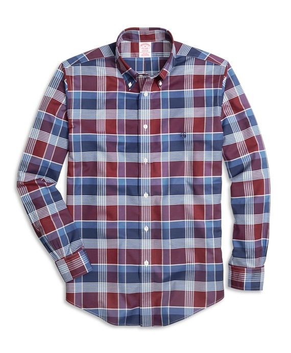 Non-Iron Madison Fit Graphic Plaid Sport Shirt Burgundy-Navy