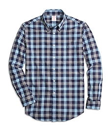 Madison Fit Blue Heathered Plaid Sport Shirt