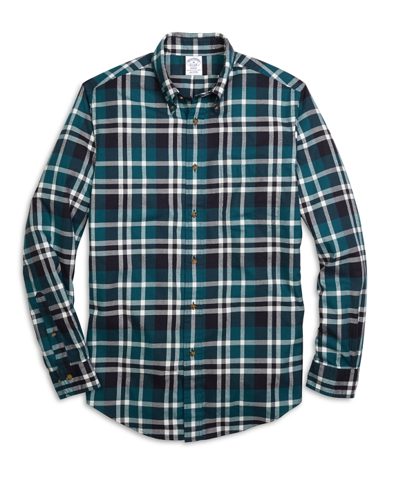 Regent Fit Flannel Grid Plaid Sport Shirt Teal