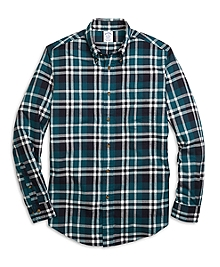 Regent Fit Flannel Grid Plaid Sport Shirt