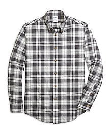 Regent Fit Flannel Heathered Multi Plaid Sport Shirt