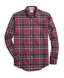 Madison Fit Burgundy Heathered Plaid Sport Shirt
