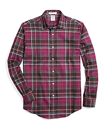 Regent Fit Burgundy Heathered Plaid Sport Shirt