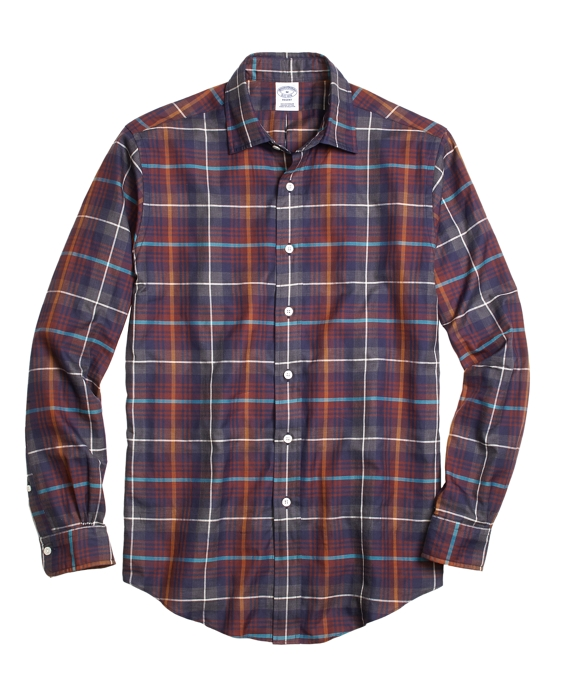 Regent Fit Brown Heathered Plaid Sport Shirt Brown Multi