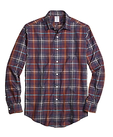 Regent Fit Brown Heathered Plaid Sport Shirt