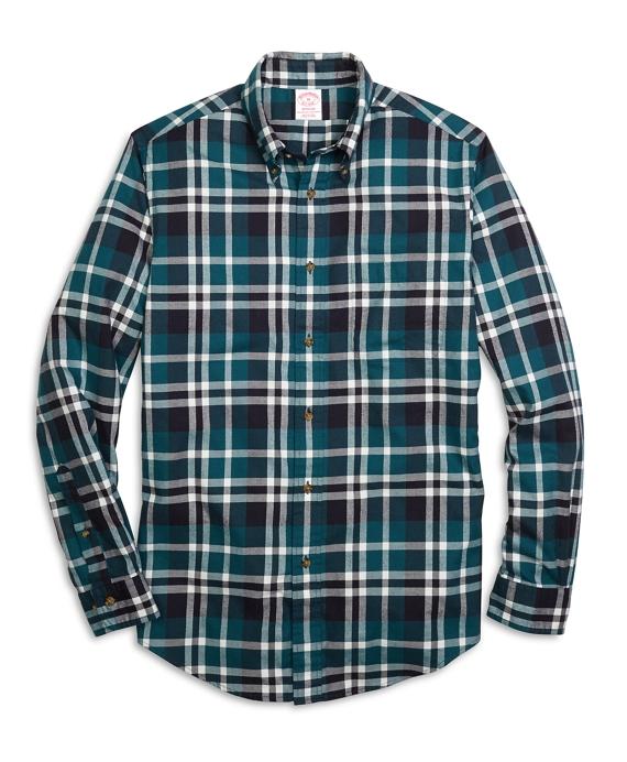 Madison Fit Flannel Grid Plaid Sport Shirt Teal