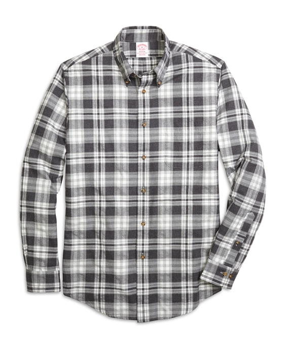 Madison Fit Flannel Heathered Multi Plaid Sport Shirt Grey