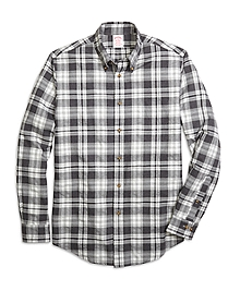 Madison Fit Flannel Heathered Multi Plaid Sport Shirt
