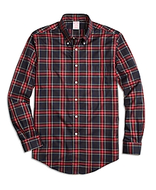 Non-Iron Madison Fit Black Stewart Tartan Sport Shirt