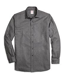 Madison Fit Saxxon Wool Glen Plaid Sport Shirt