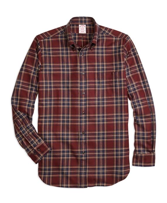 Madison Fit Saxxon™ Wool Plaid Sport Shirt Red