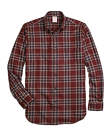 Madison Fit Saxxon Wool Plaid Sport Shirt