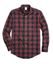 Non-Iron Milano Fit Black Stewart Tartan Sport Shirt