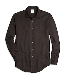 BrooksFlannel® Milano Fit Houndstooth Sport Shirt