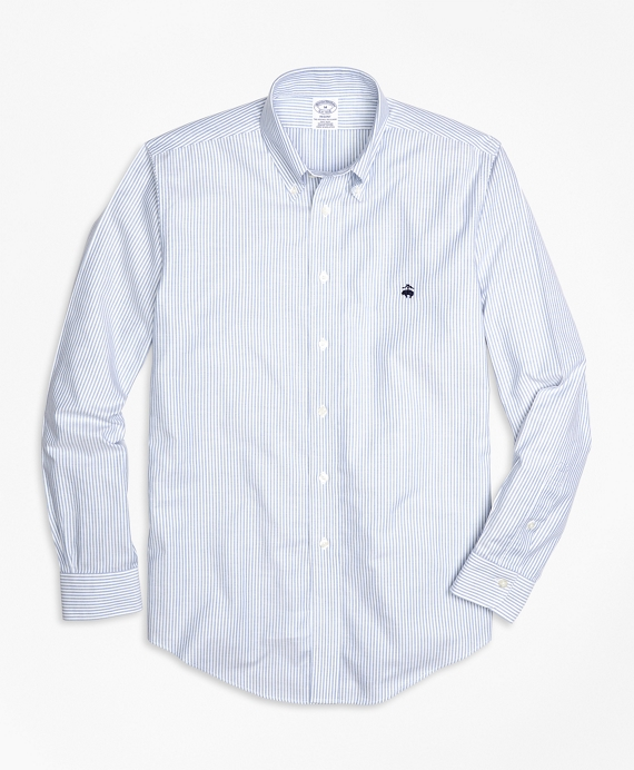 Non-Iron Regent Fit Oxford Stripe Sport Shirt Blue-White