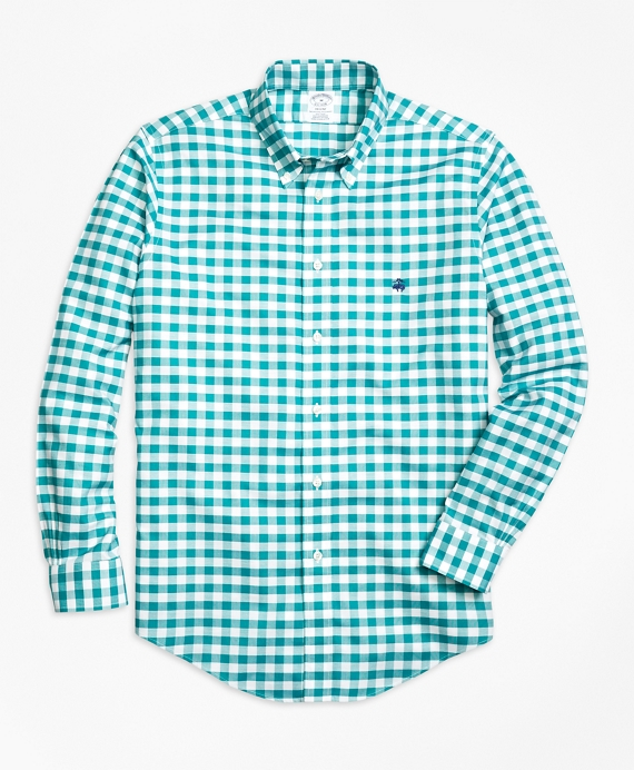 Non-Iron Regent Fit Gingham Sport Shirt Teal