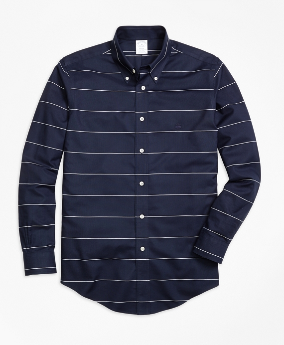 Non-Iron Regent Fit Horizontal Stripe  Sport Shirt Navy