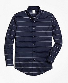 Non-Iron Regent Fit Horizontal Stripe  Sport Shirt