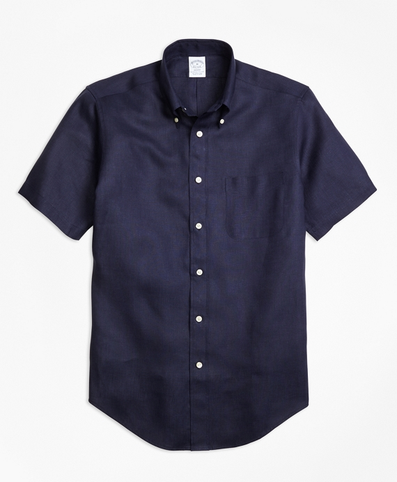 Regent Fit Irish Linen Short-Sleeve Sport Shirt Navy