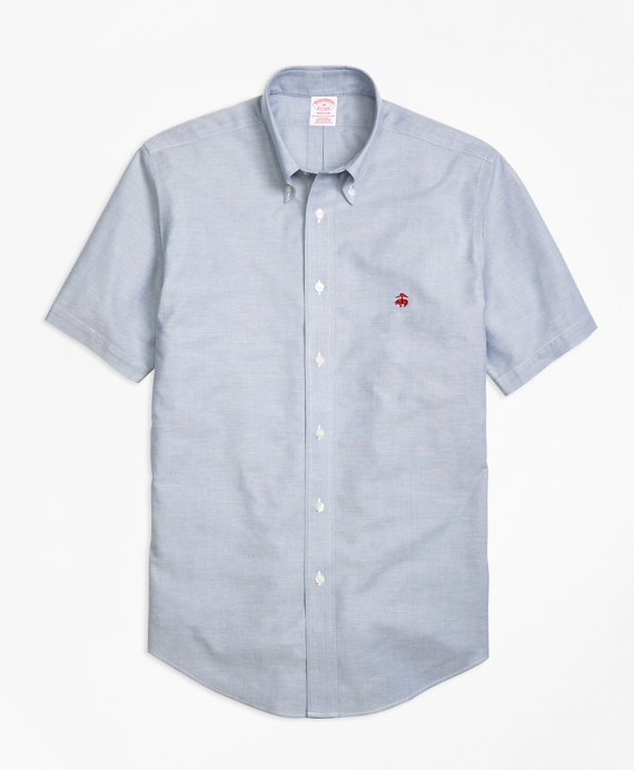 Non-Iron Madison Fit Short-Sleeve Oxford Sport Shirt Blue