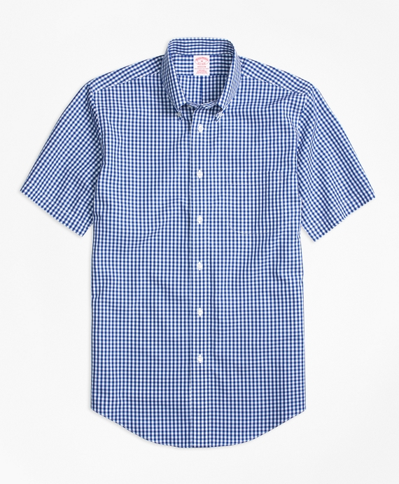 Non-Iron Madison Fit Short-Sleeve Gingham Sport Shirt Dark Blue