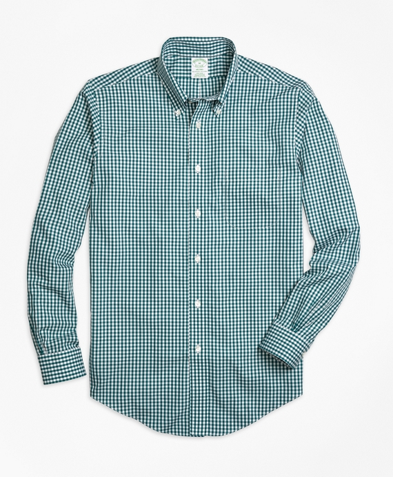 Non-Iron Milano Fit Gingham Sport Shirt Dark Green