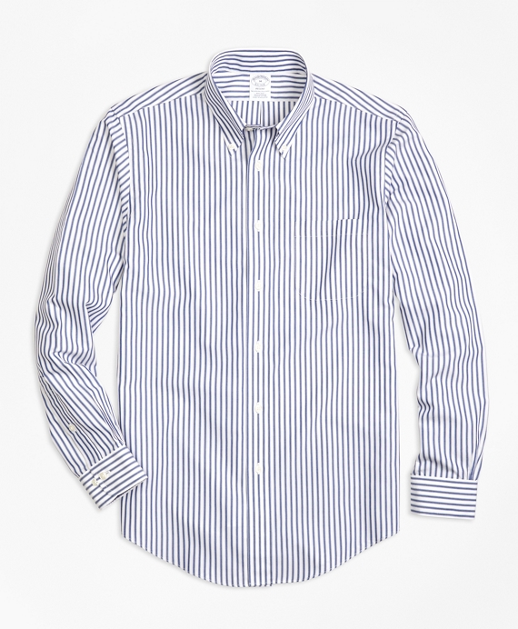 Non-Iron Regent Fit Border Stripe Sport Shirt
