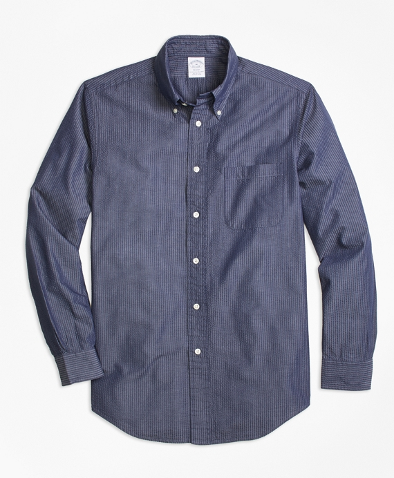 Regent Fit Seersucker Sport Shirt Navy