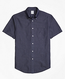 Regent Fit Seersucker Short-Sleeve Sport Shirt