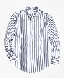 Non-Iron Milano Fit Border Stripe Sport Shirt