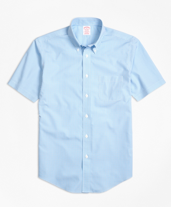 Non-Iron Madison Fit Micro Check Short-Sleeve Sport Shirt Light Blue