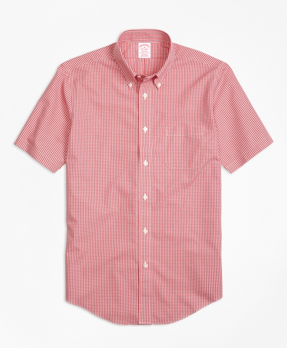 Non-Iron Madison Fit Micro Check Short-Sleeve Sport Shirt Red