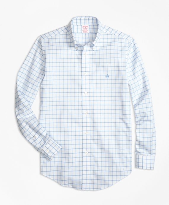 Non-Iron BrooksCool® Madison Fit Windowpane Sport Shirt Light Blue