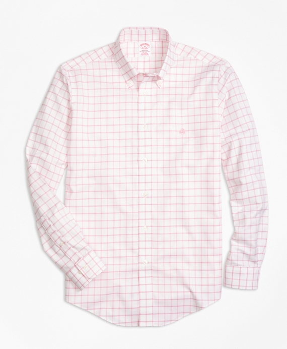Non-Iron BrooksCool® Madison Fit Windowpane Sport Shirt Rose