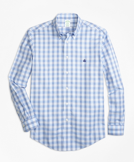 Non-Iron BrooksCool® Milano Fit Check Sport Shirt Blue