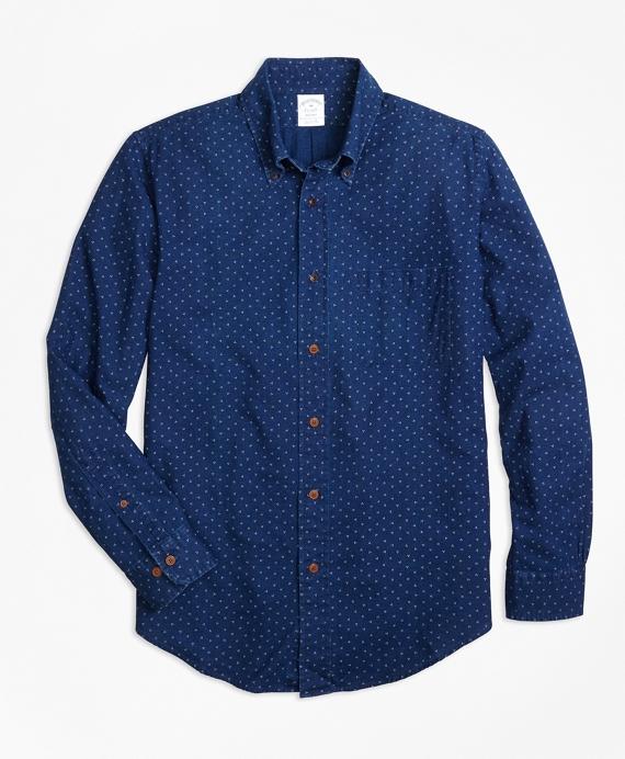 Regent Fit Indigo Printed Dot Sport Shirt