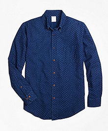 Regent Fit Indigo Printed Dot Sport Shirt