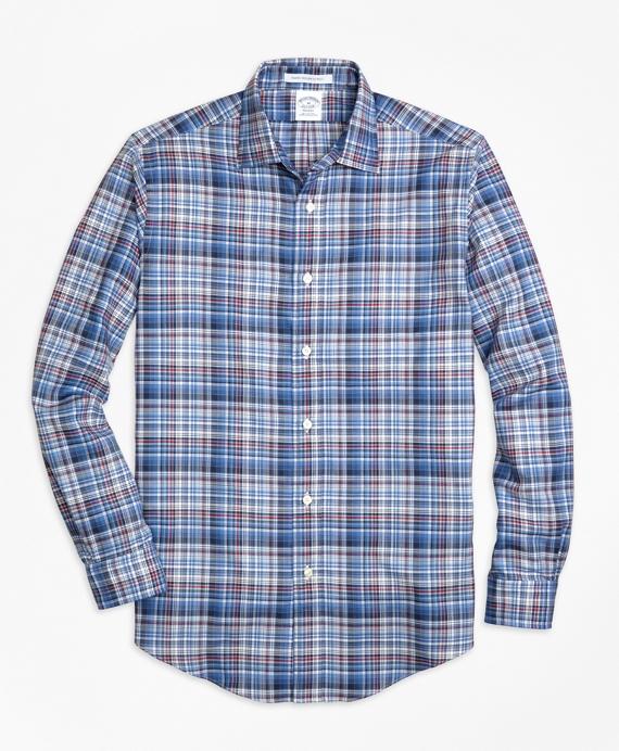 Regent Fit Plaid Melange Sport Shirt Blue