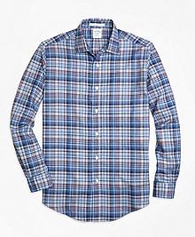 Regent Fit Plaid Melange Sport Shirt