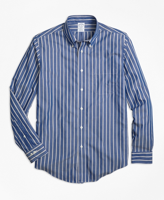 Non-Iron Regent Fit Blue Stripe Sport Shirt Blue